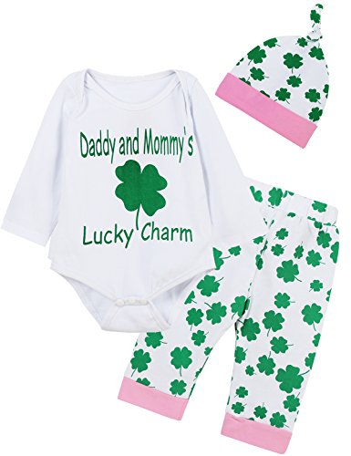 Giwawa ST Patricks Day Outfit Set 3Pcs Baby Girls Clover Romper