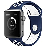 Apple Watch Band Series 1 Series 2,Soft Durable Nike + Sport Replacement Wrist Strap for iWatch(Navy Blue/White 42mm M/L)