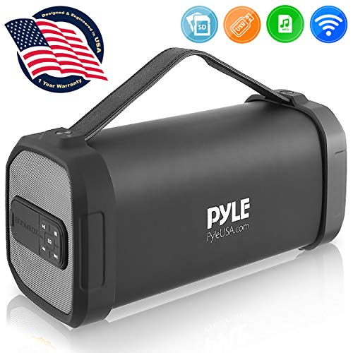 Pyle PBMSQG9 Compact & Portable Bluetooth Wireless Speaker with Built-in Rechargeable Battery MP3/USB/Micro SD Reader FM Radio