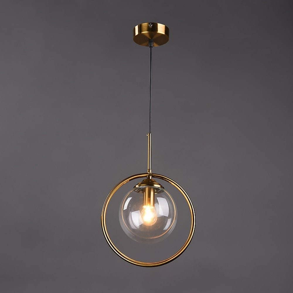 DULG Nordic Modern Industrial Chandelier Clear Glass Ball Globe Pendant Light Gold Paint Finish Kitchen Ceiling Lights Fitting LED Hanging Lamp Fixtures for Kitchen Island,Bar Dining Room 3-Light E27