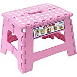 Maddott Super Strong Folding Step Stool for Adults and Kids,11x8.5x8.5inch, Holds up to 250 Lb, Pink