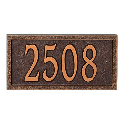 Comfort House Metal Address Plaque House Number Sign # P2836 - Color choices black gold, green, antique brass, red, silver, white, antique copper, bronze, oil rubbed bronze, pewter -