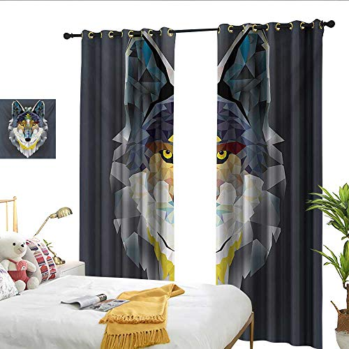 WinfreyDecor Zoo Simple Curtain Artsy Graphic Design of Coyote Wolf Beast Modern Portrait Geometric Colorful Print Noise Reducing W96 x L108