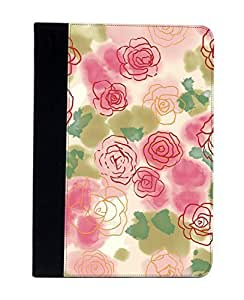 Case Fun Apple iPad Air (i9500) Faux Leather Wallet Case - Paper Roses