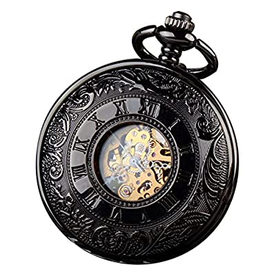 ALPS Classic Black Roman Numerals Skeleton Hand Wind Mechanical Pocket Watch