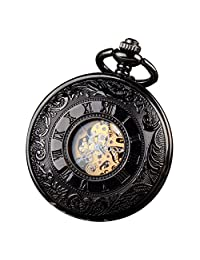 ALPS Classic Black Roman Numerals Skeleton Hand Wind Mechanical Pocket Watch