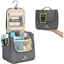Travel Hanging Toiletry Bag by Hikenture   Cosmetics, Makeup and Toiletries Organizer   Compact Bathroom Storage   TSA Friendly   Home, Gym, Airplane, Hotel, Car Use(Grey)