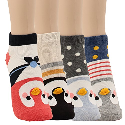 WOWFOOT Animal Zoo Casual Cute Fun Cotton Print Ankle Socks Design (Lovely Penguin-4 pairs)