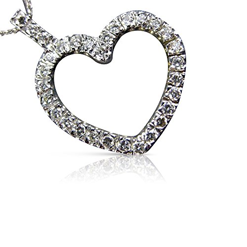 Milano Jewelers .73CT DIAMOND 14KT WHITE GOLD CLASSIC OPEN HEART FLOATING PENDANT #18392