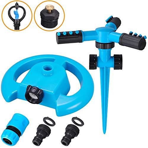 NAYE Lawn Sprinkler Automatic Watering Irrigation System With 3 Sprinkler Heads & Spike Base,Blue