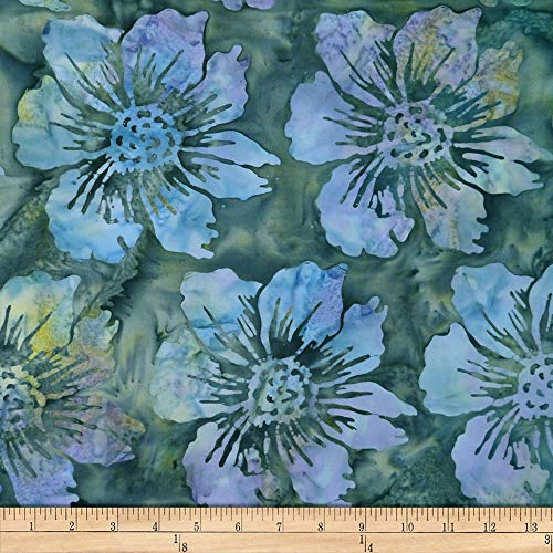 Batik by Mirah Cream Cherise Florals Fabric, Grassley Green, Fabric By The Yard