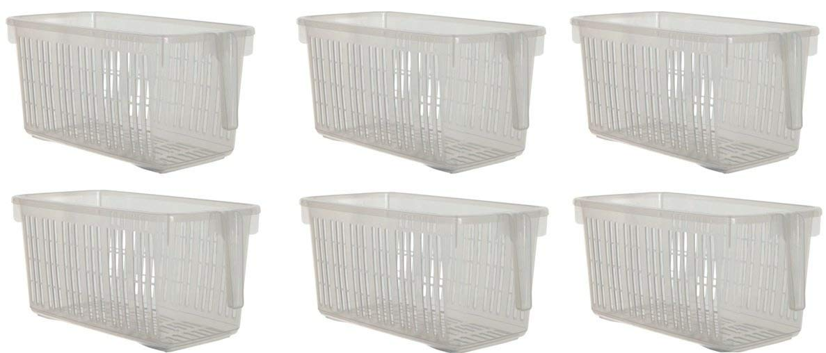 Small Set Of 6 Clear Storage Caddy Baskets With Handle Easy Cupboard Storage Solutions