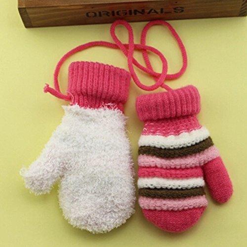 1 Pair Children's Winter Gloves knitted&Warm Mittens (2-5 Years) Stripe Pink