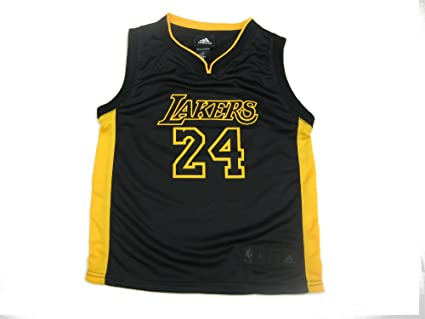 2a072bf73061 Kobe Bryant  24 Adidas Los Angeles Lakers Replica Kids Jersey Black   Gold ( Kids