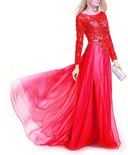 Fanciest Robes De Soirée En Dentelle De Cristal Des Femmes Avec Des Robes De Bal Manches Longues Rouge Argent