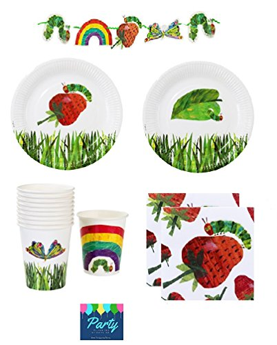 The Very Hungry Caterpillar Party Supplies Pack for 12 Guests Including Plates, Napkins, Cups And 9 Foot (Hungry Caterpillar Party Decorations)