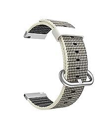 Universal 20mm Quick Release Watch Band, MoKo Fine Woven Nylon Replacement Band Sport Strap for Samsung Gear S2 Classic/Motorola Moto 360 2nd Gen Men's 42mm/Ticwatch 2nd/Huawei Watch 2, Pearl White