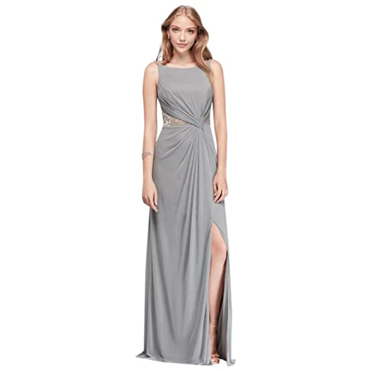 5758c207e90 Double-Strap Mesh Bridesmaid Dress with Metallic Lace Insets Style F19418M