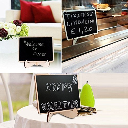 Mini Chalkboards Signs with Easel Stand Wood Blackboard for Message Board Wedding Party Table Numbers, Rectangle Set of 10 Photo #7