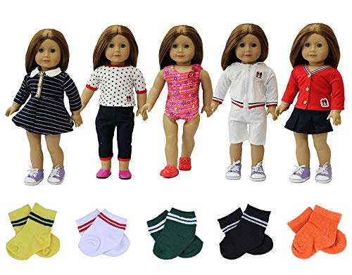 - ZITA ELEMENT 5 Sets Clothes Dress with 3 Socks for American 18 Inch Girl Doll Clothes and Accessories - Random Style Outfits for 18