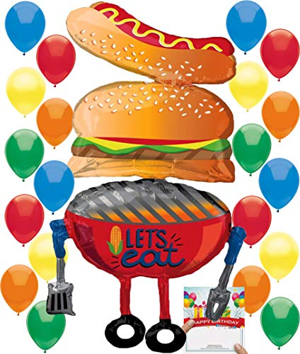 BBQ Grilling Summer Fun Hot Dog, Burger, Grill Party Supplies Birthday Balloon Decoration Bundle ()