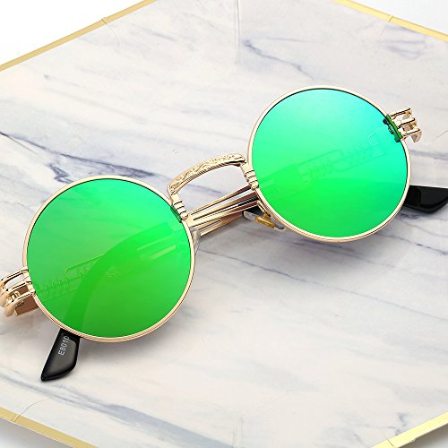 YANQIUYU Gothic John Lennon Metal Spring Frame Round Steampunk Sunglasses retro shade Available (Gold Frame/Green Mirrored Lens, (John Lennon Round Glasses)