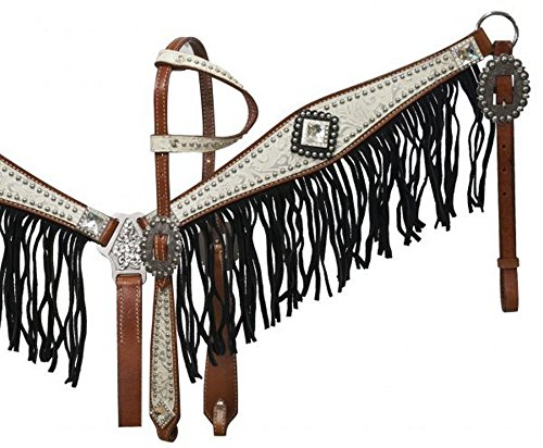 (Showman Leather Bridle Breast Collar Set w/ WHITE Filigree Print & Suede Fringe!)