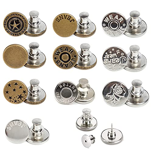 J.CARP 10 PCS 17mm Upgraded Button Pins for Jeans, Instant Buttons, Perfect Fit Jean Button Replacement, Adjustable Jean Button Pins Metal Clips Snap Tack (Style1)