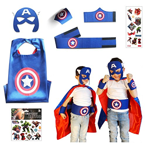 Captain Marvel Girl Costume (Captain America Costume Child | Superhero Cape Set | 7 Items in Package)