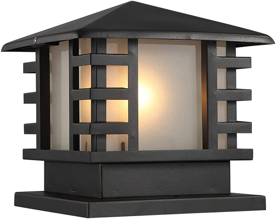 CGJDZMD Column Lights, Traditional E26 Waterproof Pillar Lights Outdoor Aluminium Glass Pillar Light Fixture Decorations for Patio Outside Lights Fence Column Post Lights Villa Gate Garden Post Lamp
