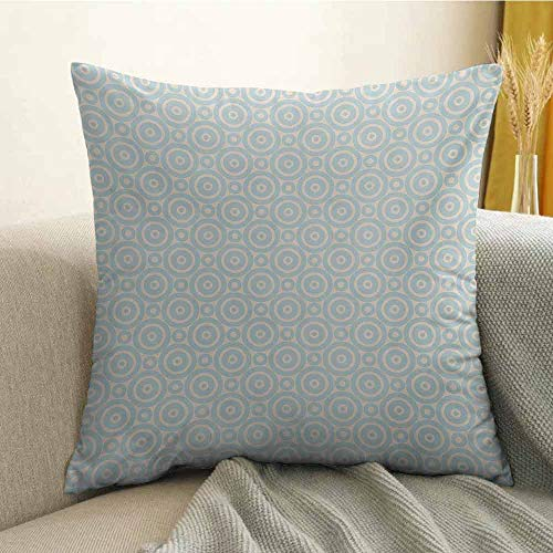 FreeKite Shabby Chic Silky Pillowcase Big Little Nested Symmetric Circles Dots Geometric Vintage Tile Pattern Super Soft and Luxurious Pillowcase W20 x L20 Inch Cream Pale Blue