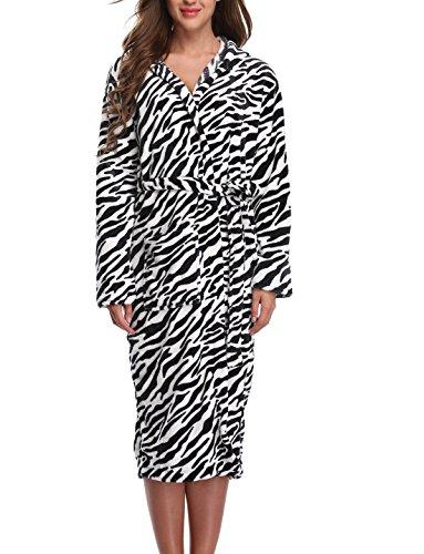 1stmall Fleece Robe, Long Hooded Bathrobe for Women's with Soft Velvet Bathrobe,Zebra M (Zebra Bathrobes For Women)