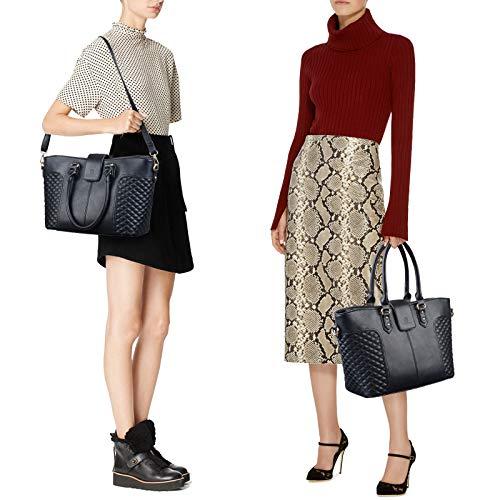 Fanspack Women's PU Leather Tote Bag Lattice Pattern Top Handle Tote Handbags Crossbody Shoulder Bag Purses and Handbags by Fanspack (Image #5)