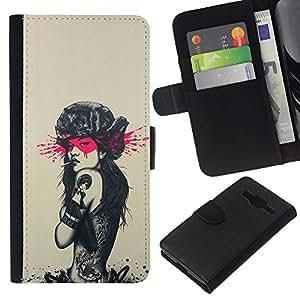 KLONGSHOP // Tirón de la caja Cartera de cuero con ranuras para tarjetas - Tatuaje de Rusia Sexy Girl - Pin Up - Samsung Galaxy Core Prime //