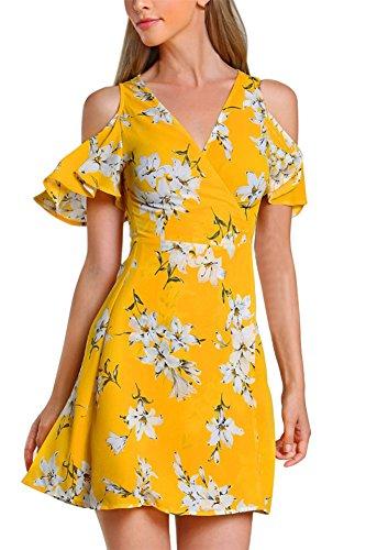 Shoulder Flutter Sleeve Dress - Demetory Summer Dresses for Women Off The Shoulder Casual Wrap Hawaiian Floral Party Dress Bell Sleeve Flare Midi Sundress