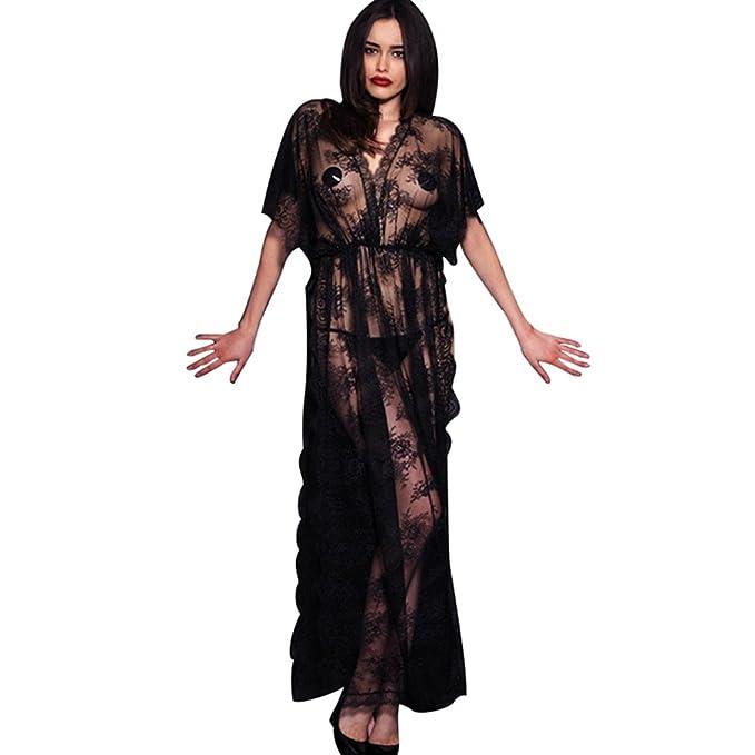 ba27770a26677 LvRao Donna Sexy Pizzo Mesh Trasparente Intimo Lingerie Lungo Vestito V  Collo Manica Corta Pigiama Camicie