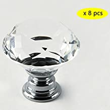 IQUALITE 8pcs 40mm Crystal Glass Cabinet Knob Diamond Shape Drawer Cabinet Pulls (Transparent)