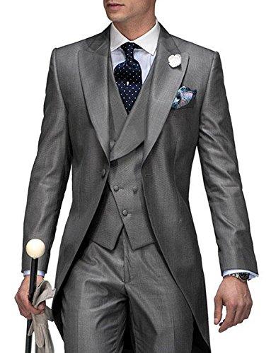 - JYDress Men's Gentleman 3 Piece Tailcoat Suits Peak Lapel Blazers Tail Tuxedo