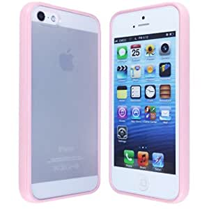 Uming for Apple IPhone 5G 5S IPhoneSE IPhone5S SE Case Cover IPhone5 cover candy Colorful Candy Color Soft TPU Bumper Side Border Frame Transparent Translucent Plastic Hard Case Back Case Protector Skin Case - Pink