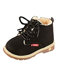 Boys and Girls Snow Boots Fur Lined Winter Outdoor Ankle boots Breathable Slip On Shoes Size 7 M Black
