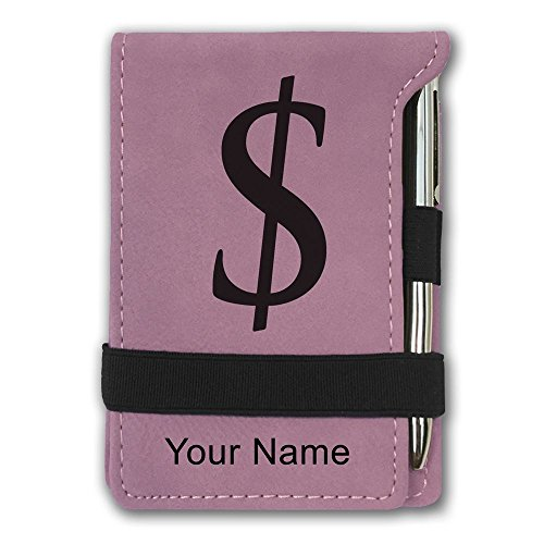 Dollar Notepad - Mini Notepad, Dollar Sign, Personalized Engraving Included (Pink)