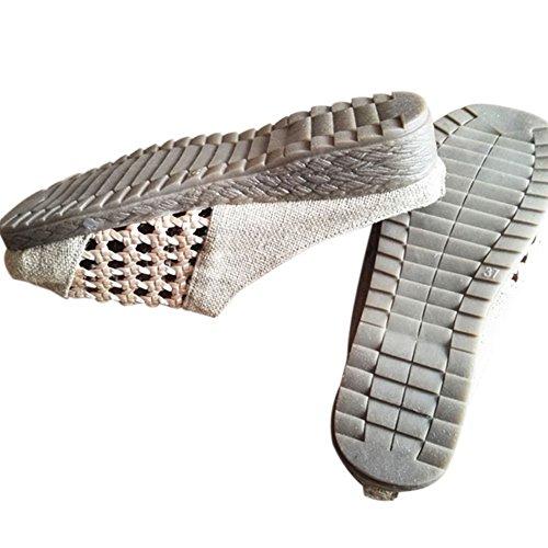 Haodasi Baumwolle Leinen Hollow Sandalen Slip-on Schuhe Flache Chinesische Schuhe Rutschfest Beige