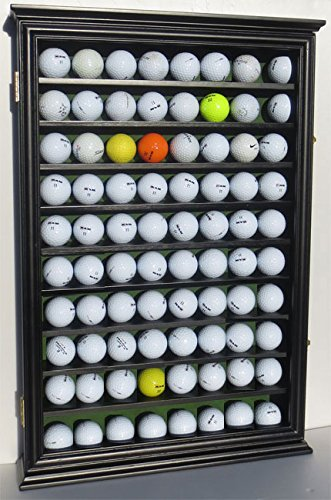80 Novelty/Souvenir Golf Ball Display Case Holder Cabinet, with Glass Door, (Black - Ball Case Glass Golf Display
