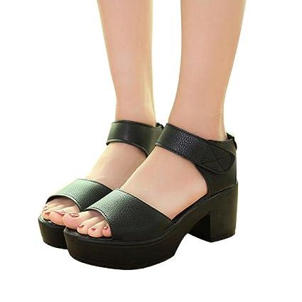 Wedge Platform Sandal SUKEQ Fashion Women Open Peep Toe Platform Gladiator Low Heel Chunky Platform Ankle Strap Sandals Shoes