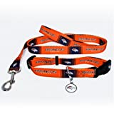 Denver Broncos Pet Set Dog Leash Collar ID Tag LARGE