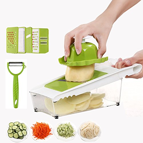 AMAMDOOG Mandoline Slicer + Peeler - Potato Slicer - Vegetable Cutter- Cheese Grater with 5 Thickness Stainless Steel Blades & Food Container,Cutter for Potato,Cucumber,Onion,Cheese