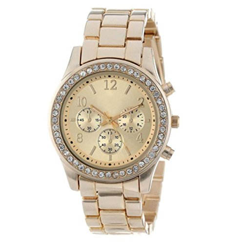 (Ladies Women Crystals Watch,Faux Chronograph Quartz Plated Classic Round Watch (Gold))