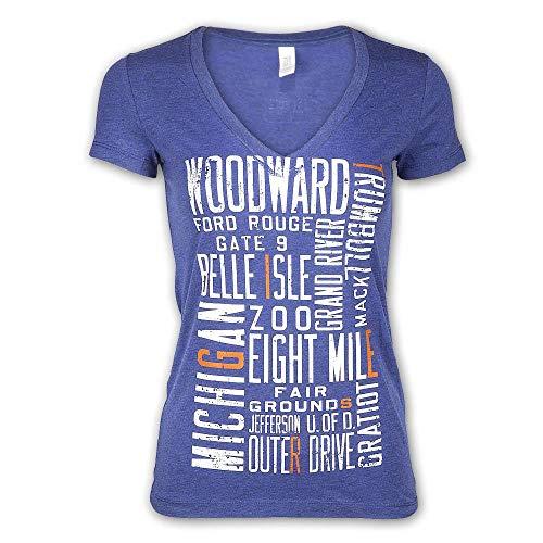 Detroit Scroll Around The Block Women's V-Neck T-Shirt, Light Navy, Large