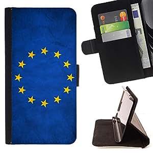 KingStore / Leather Etui en cuir / HTC One M8 / Nación de la bandera nacional del país de la Unión Europea