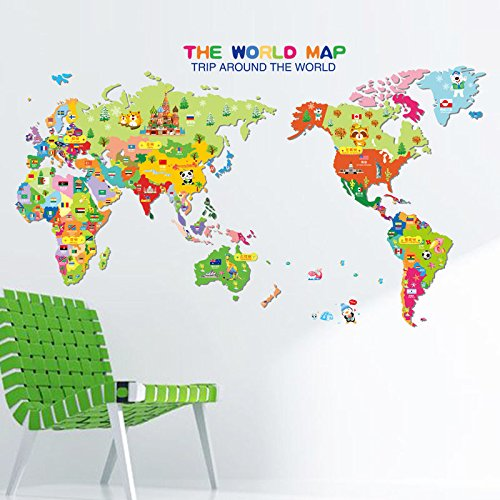 Shalleen Sticker Kids Nursery Room Home Decor Animal World Map Wall Decal Removable (Are Mermaids Evil)
